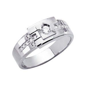 14K White Gold CZ Men's Ring